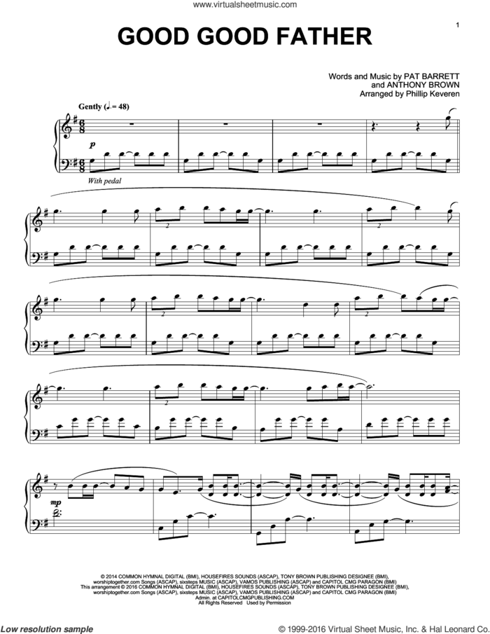 Good Good Father (arr. Phillip Keveren) sheet music for piano solo by Chris Tomlin, Phillip Keveren, Anthony Brown and Pat Barrett, intermediate skill level