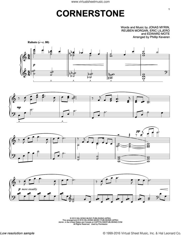 Cornerstone (arr. Phillip Keveren), (intermediate) sheet music for piano solo by Reuben Morgan, Phillip Keveren, Hillsong Live, Eric Liljero and Jonas Myrin, intermediate skill level