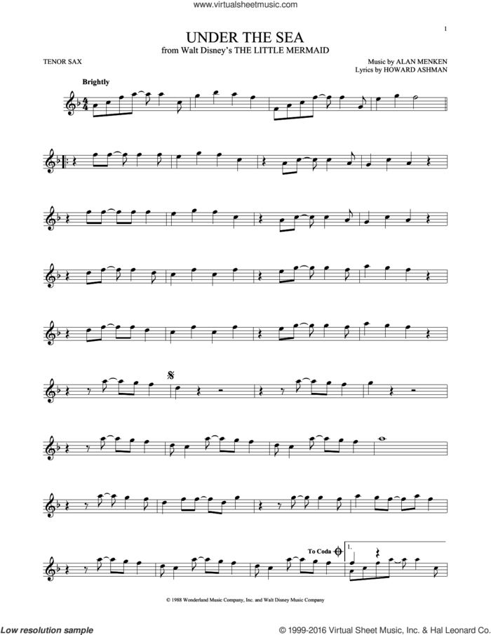 Under The Sea (from The Little Mermaid) sheet music for tenor saxophone solo by Alan Menken & Howard Ashman, Alan Menken and Howard Ashman, intermediate skill level