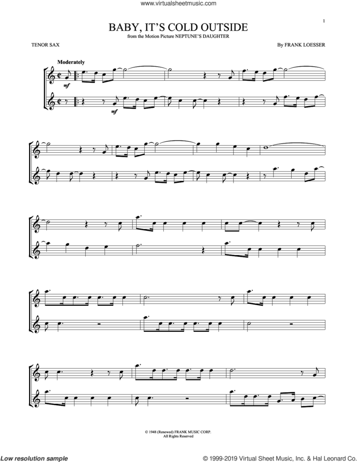 Baby, It's Cold Outside sheet music for tenor saxophone solo by Frank Loesser, intermediate skill level