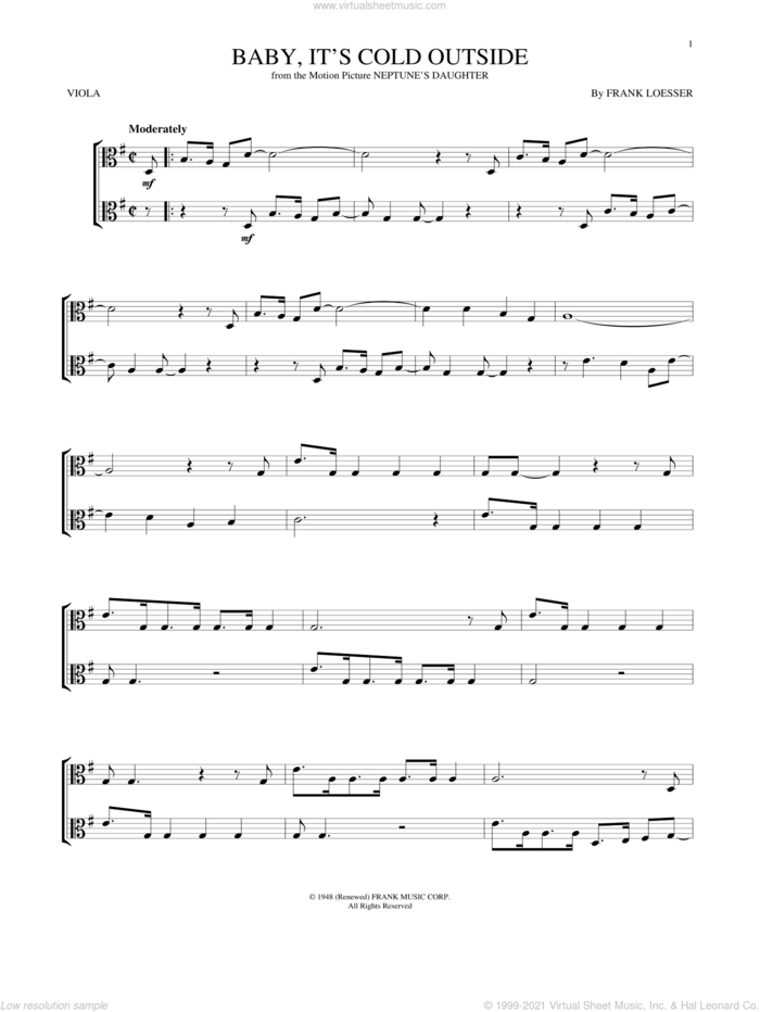 Baby, It's Cold Outside sheet music for viola solo by Frank Loesser, intermediate skill level