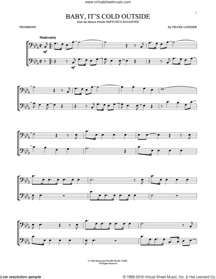 Baby, It's Cold Outside sheet music for trombone solo by Frank Loesser, intermediate skill level