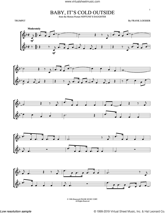 Baby, It's Cold Outside sheet music for trumpet solo by Frank Loesser, intermediate skill level