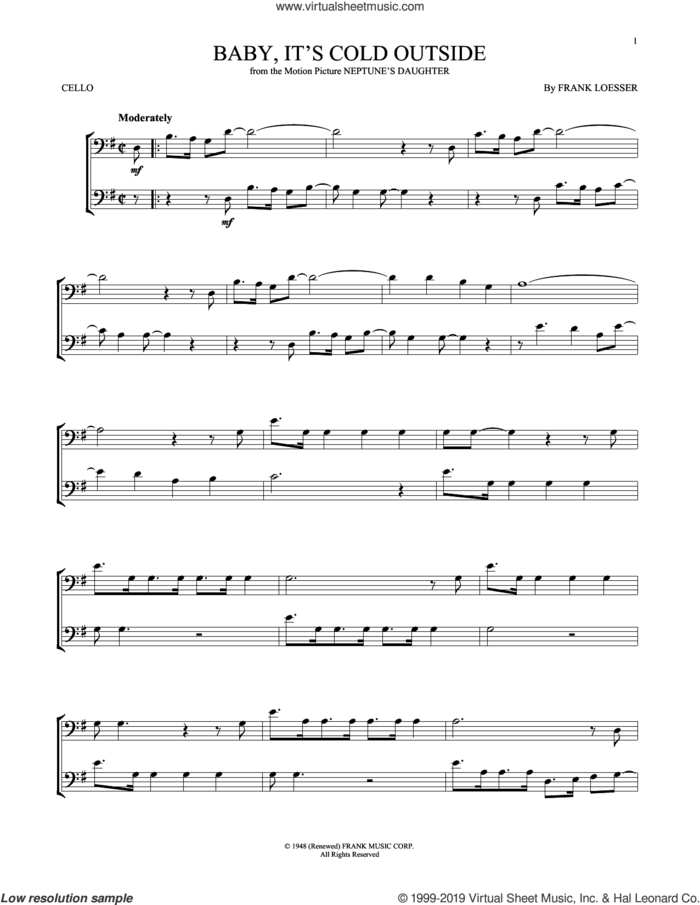 Baby, It's Cold Outside sheet music for cello solo by Frank Loesser, intermediate skill level