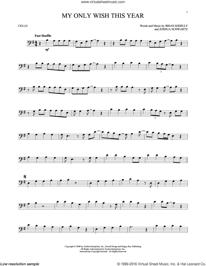 My Only Wish This Year sheet music for cello solo by Britney Spears, Brian Kierulf and Joshua Schwartz, intermediate skill level