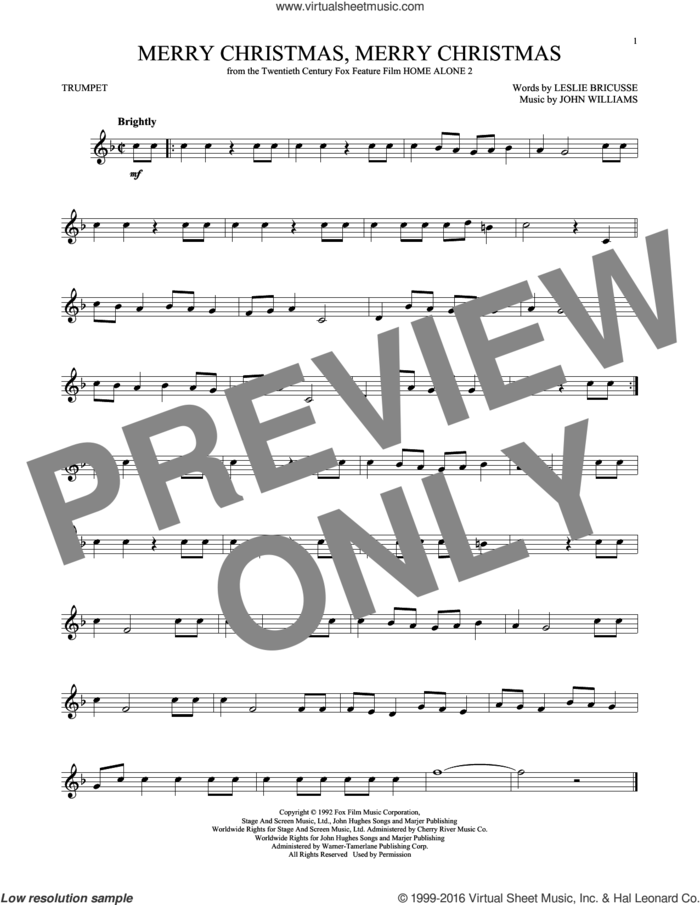 Merry Christmas, Merry Christmas sheet music for trumpet solo by John Williams and Leslie Bricusse, intermediate skill level