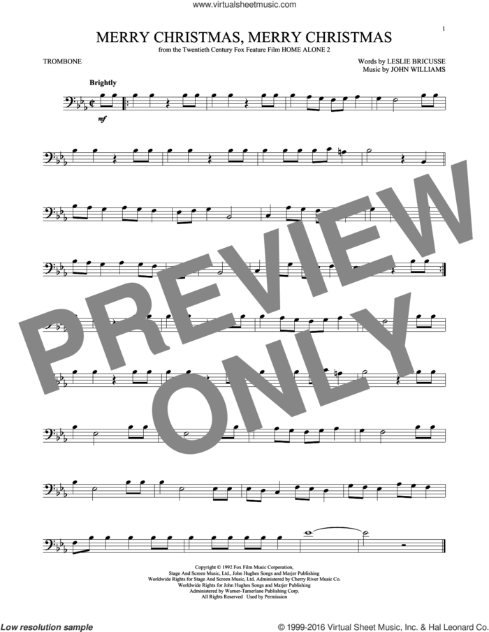 Merry Christmas, Merry Christmas sheet music for trombone solo by John Williams and Leslie Bricusse, intermediate skill level