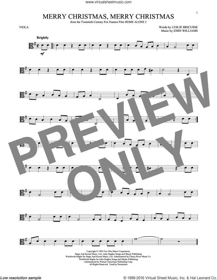 Merry Christmas, Merry Christmas sheet music for viola solo by John Williams and Leslie Bricusse, intermediate skill level