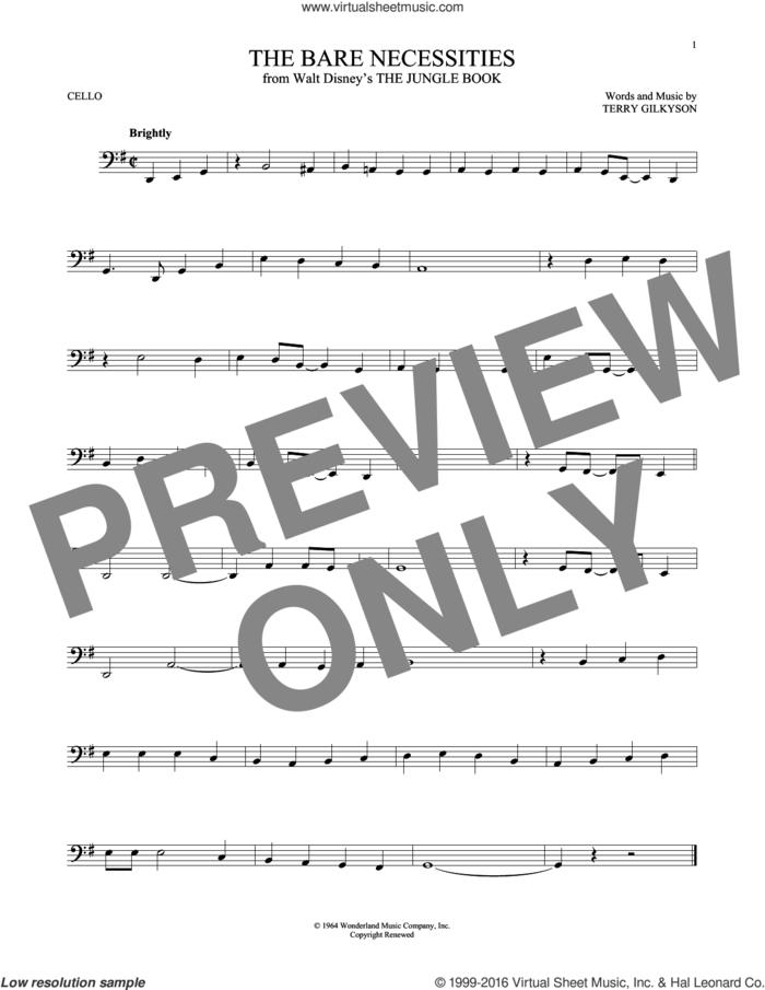 The Bare Necessities sheet music for cello solo by Terry Gilkyson, intermediate skill level