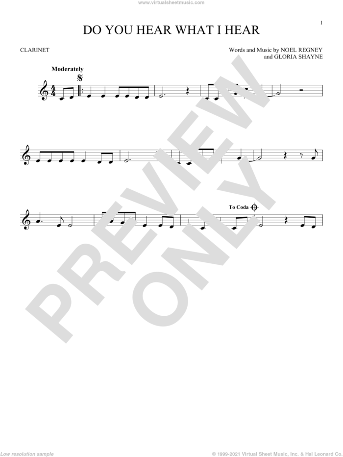 Do You Hear What I Hear sheet music for clarinet solo by Gloria Shayne, Carole King, Carrie Underwood, Susan Boyle feat. Amber Stassi, Noel Regney and Noel Regney & Gloria Shayne, intermediate skill level