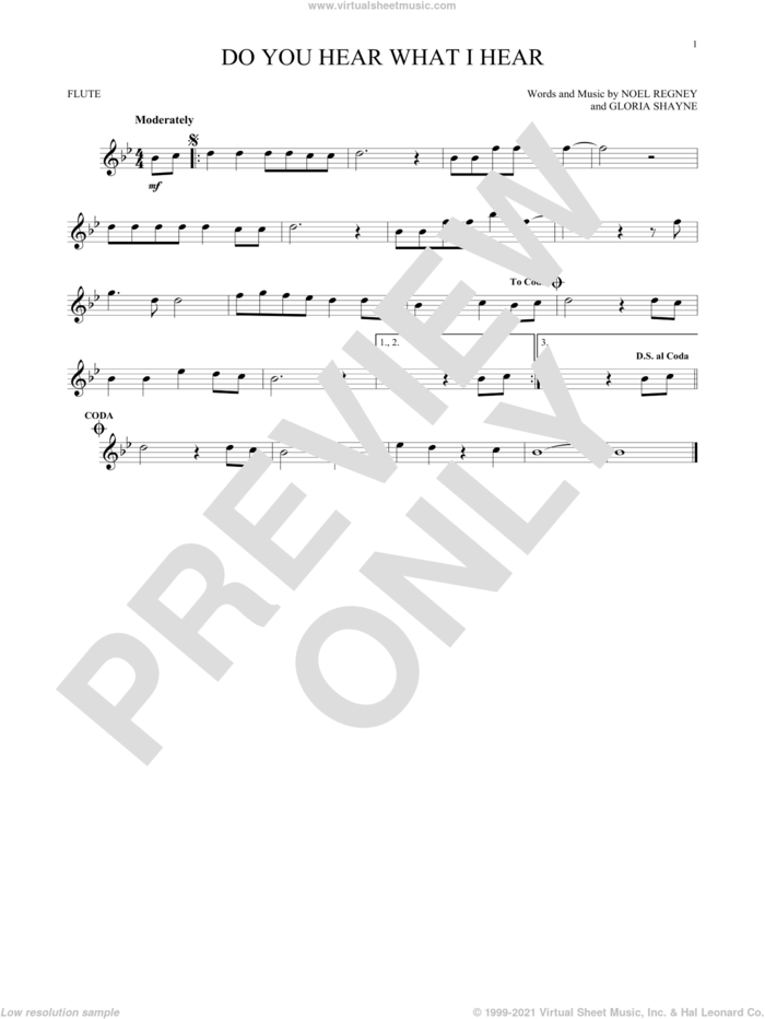 Do You Hear What I Hear sheet music for flute solo by Gloria Shayne, Carole King, Carrie Underwood, Susan Boyle feat. Amber Stassi, Noel Regney and Noel Regney & Gloria Shayne, intermediate skill level