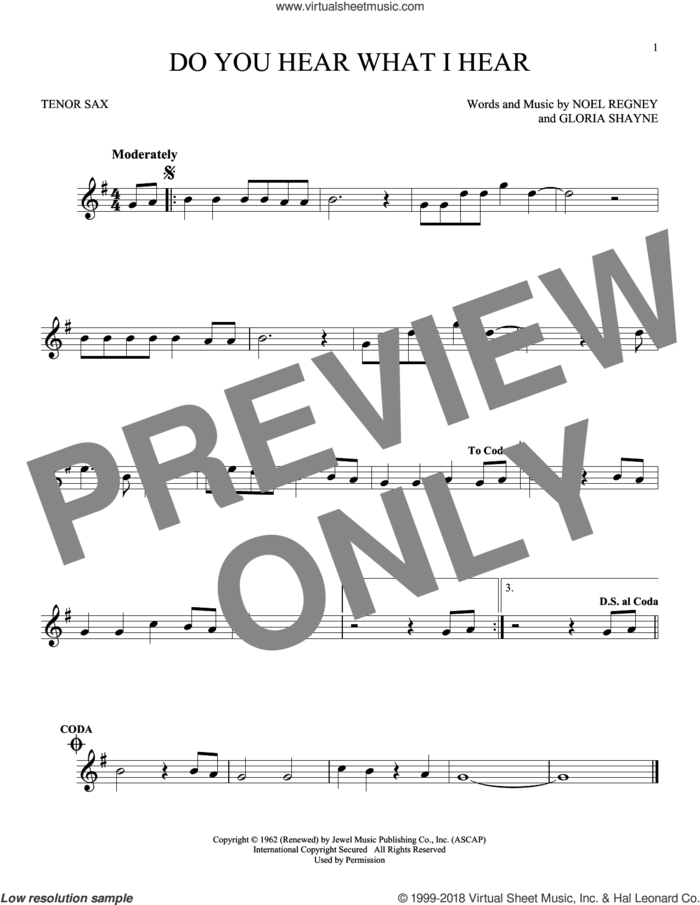 Do You Hear What I Hear sheet music for tenor saxophone solo by Gloria Shayne, Carole King, Carrie Underwood, Susan Boyle feat. Amber Stassi, Noel Regney and Noel Regney & Gloria Shayne, intermediate skill level