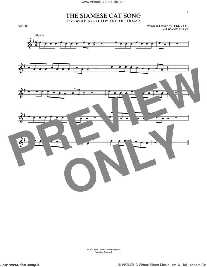 The Siamese Cat Song (from Lady And The Tramp) sheet music for violin solo by Peggy Lee, Peggy Lee & Sonny Burke and Sonny Burke, intermediate skill level