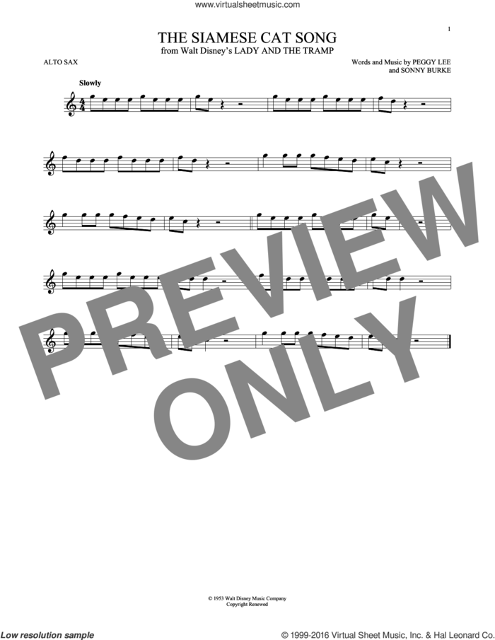 The Siamese Cat Song (from Lady And The Tramp) sheet music for alto saxophone solo by Peggy Lee, Peggy Lee & Sonny Burke and Sonny Burke, intermediate skill level