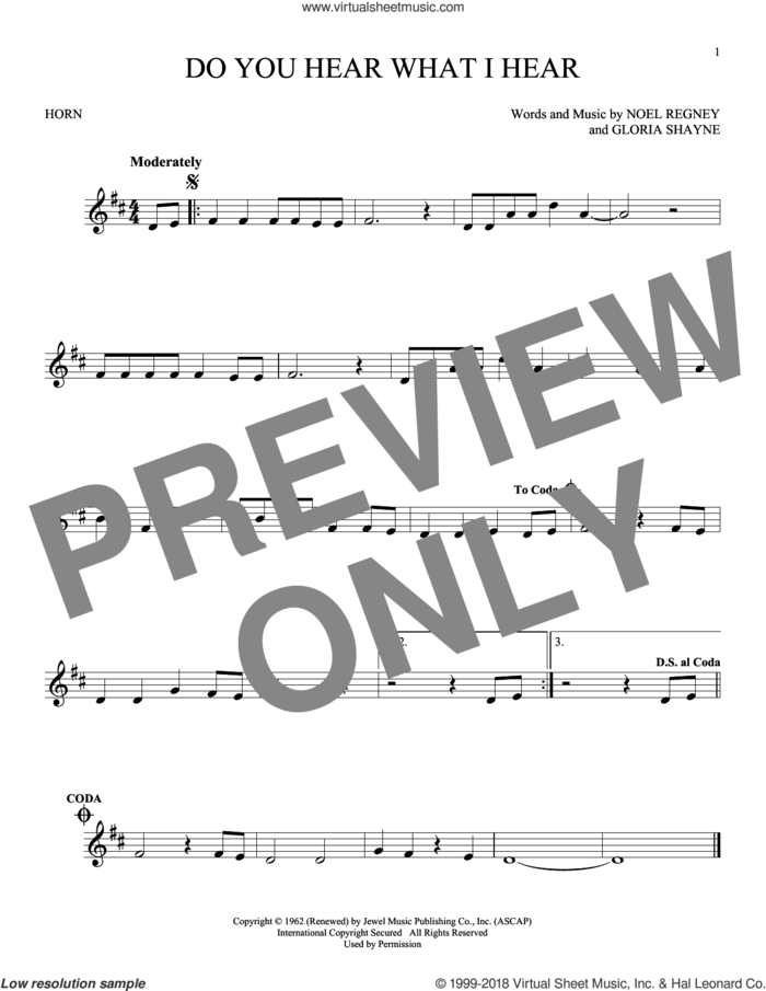 Do You Hear What I Hear sheet music for horn solo by Gloria Shayne, Carole King, Carrie Underwood, Susan Boyle feat. Amber Stassi, Noel Regney and Noel Regney & Gloria Shayne, intermediate skill level