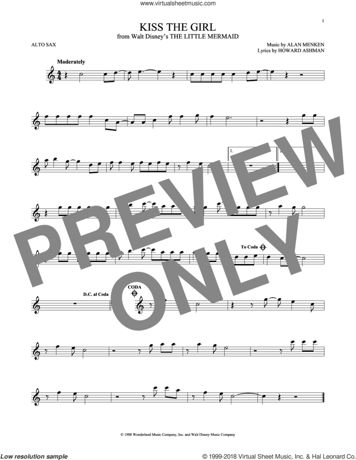 Kiss The Girl (from The Little Mermaid) sheet music for alto saxophone solo by Alan Menken, Little Texas, Alan Menken & Howard Ashman and Howard Ashman, intermediate skill level