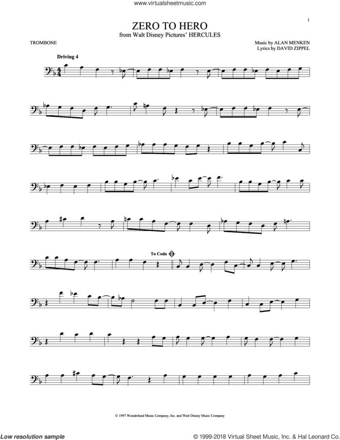 Zero To Hero sheet music for trombone solo by Alan Menken, Alan Menken & David Zippel and David Zippel, intermediate skill level