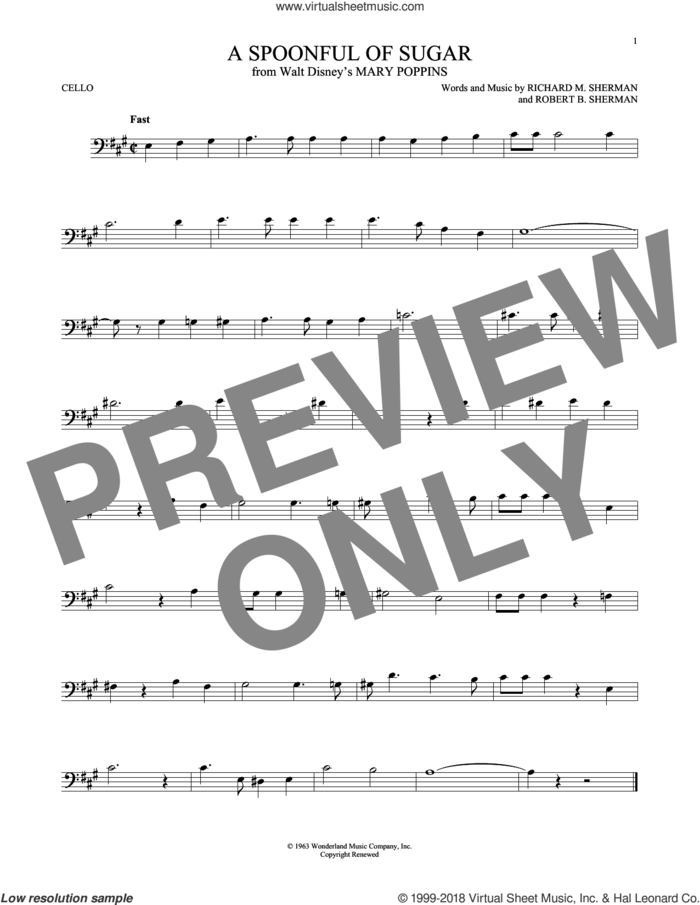 A Spoonful Of Sugar sheet music for cello solo by Richard M. Sherman, Richard & Robert Sherman and Robert B. Sherman, intermediate skill level