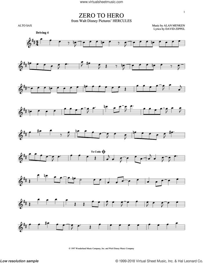 Zero To Hero sheet music for alto saxophone solo by Alan Menken, Alan Menken & David Zippel and David Zippel, intermediate skill level