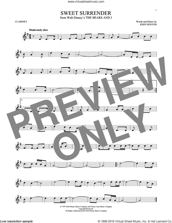 Sweet Surrender sheet music for clarinet solo by John Denver, intermediate skill level
