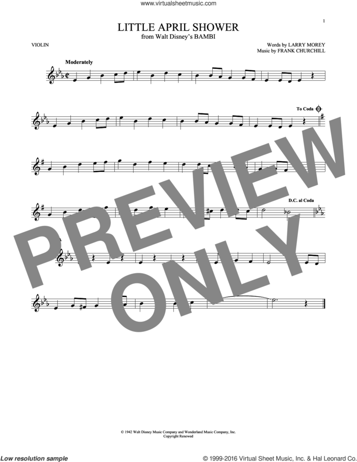 Little April Shower sheet music for violin solo by Larry Morey and Frank Churchill, intermediate skill level