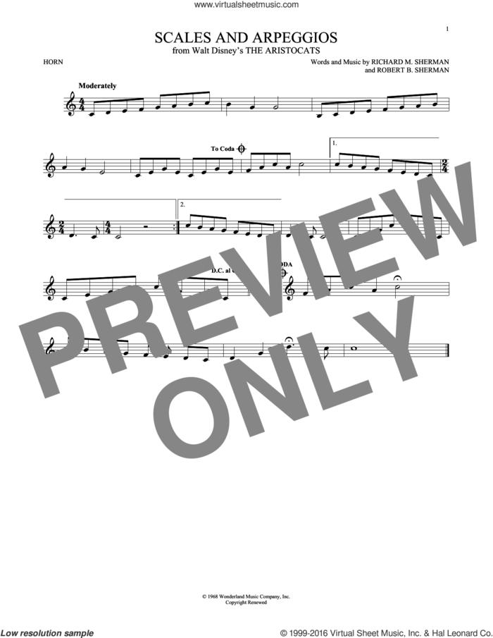 Scales And Arpeggios sheet music for horn solo by Richard M. Sherman, Richard & Robert Sherman and Robert B. Sherman, intermediate skill level