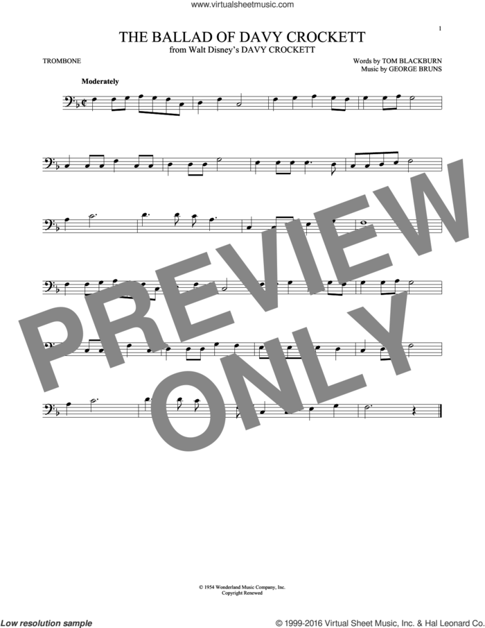 The Ballad Of Davy Crockett sheet music for trombone solo by George Bruns, Bill Hayes, Fess Parker, Tennessee Ernie Ford and Tom Blackburn, intermediate skill level