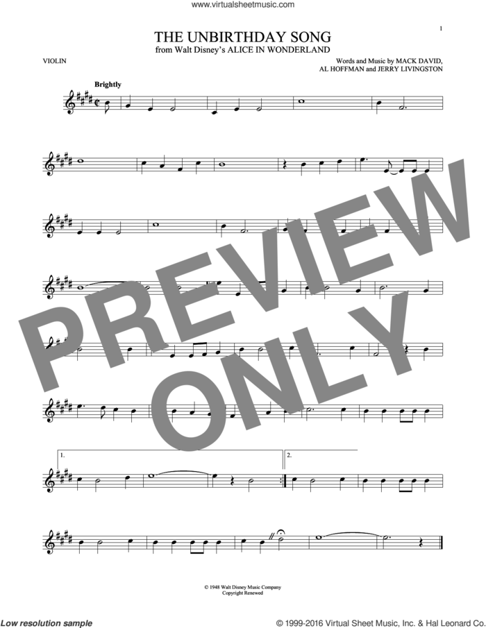 The Unbirthday Song (from Disney's Alice In Wonderland) sheet music for violin solo by Al Hoffman, Jerry Livingston, Mack David and Mack David, Al Hoffman and Jerry Livingston, intermediate skill level