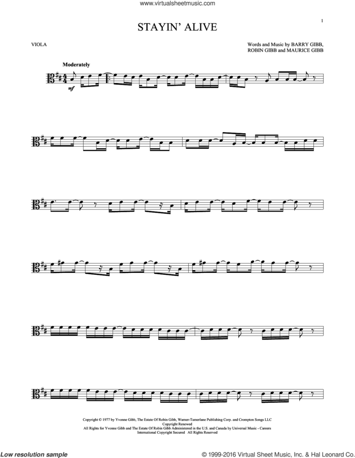 Stayin' Alive sheet music for viola solo by Barry Gibb, Bee Gees and Robin Gibb, intermediate skill level