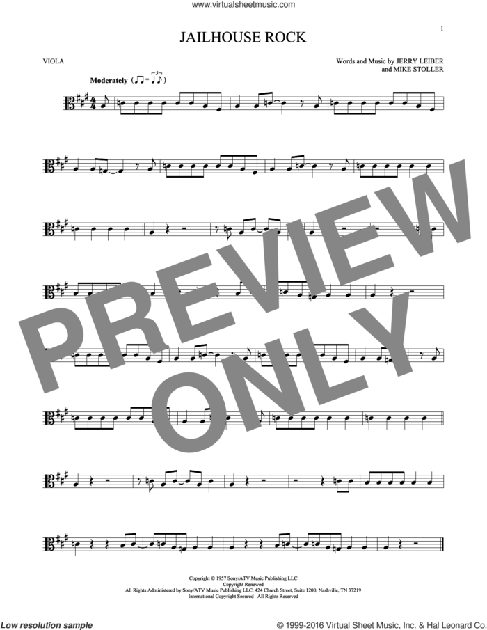 Jailhouse Rock sheet music for viola solo by Elvis Presley, Jerry Leiber and Mike Stoller, intermediate skill level