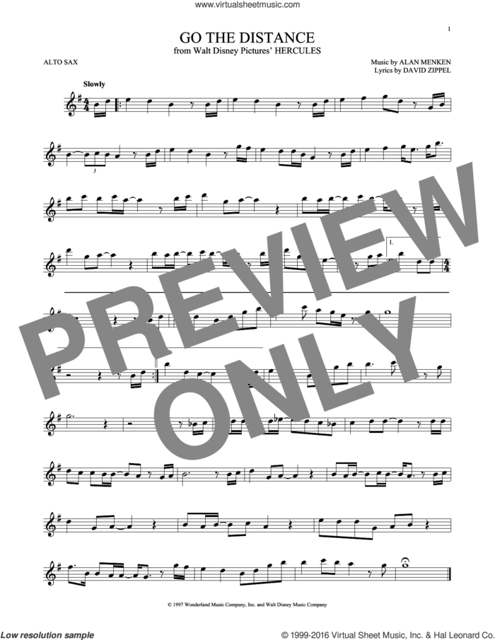 Go The Distance (from Hercules) sheet music for alto saxophone solo by Michael Bolton, Alan Menken and David Zippel, intermediate skill level