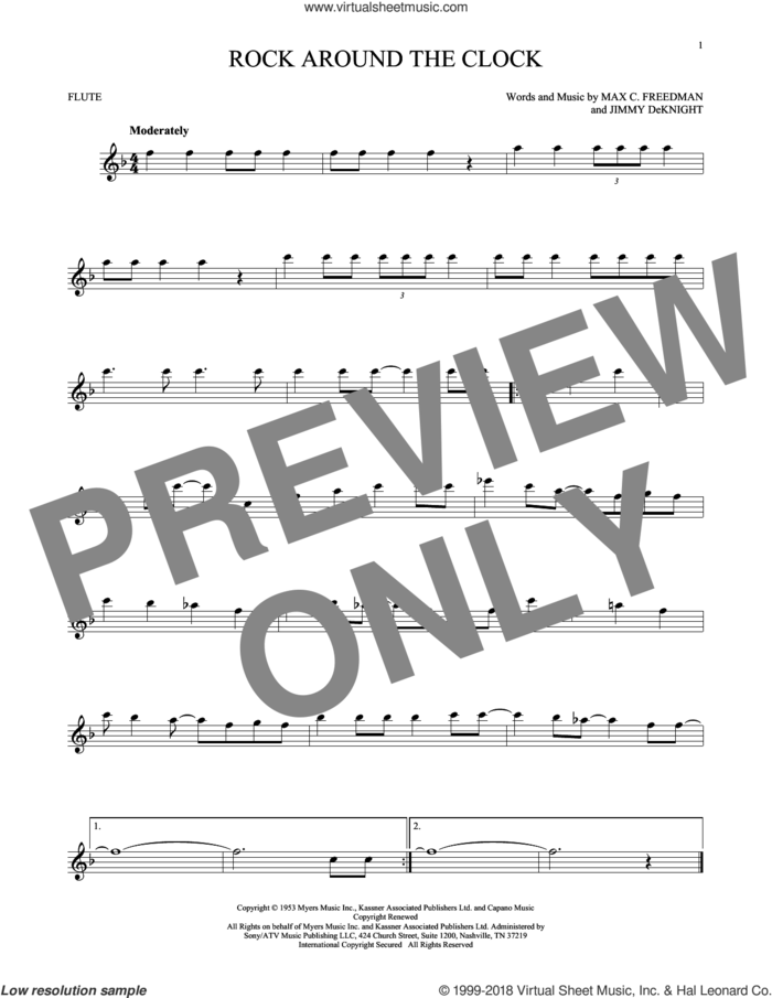 Rock Around The Clock sheet music for flute solo by Bill Haley & His Comets, Jimmy DeKnight and Max C. Freedman, intermediate skill level
