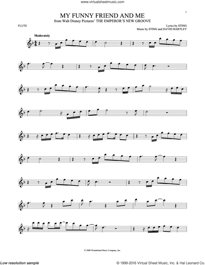 My Funny Friend And Me sheet music for flute solo by Sting and David Hartley, intermediate skill level