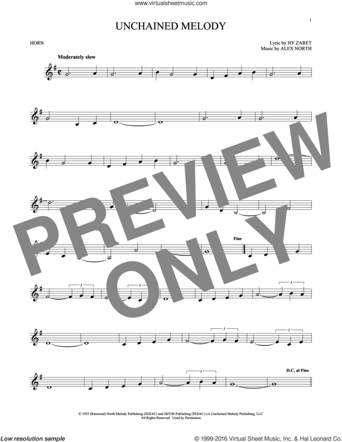 Unchained Melody sheet music for horn solo by The Righteous Brothers, Al Hibbler, Barry Manilow, Elvis Presley, Les Baxter, Alex North and Hy Zaret, intermediate skill level