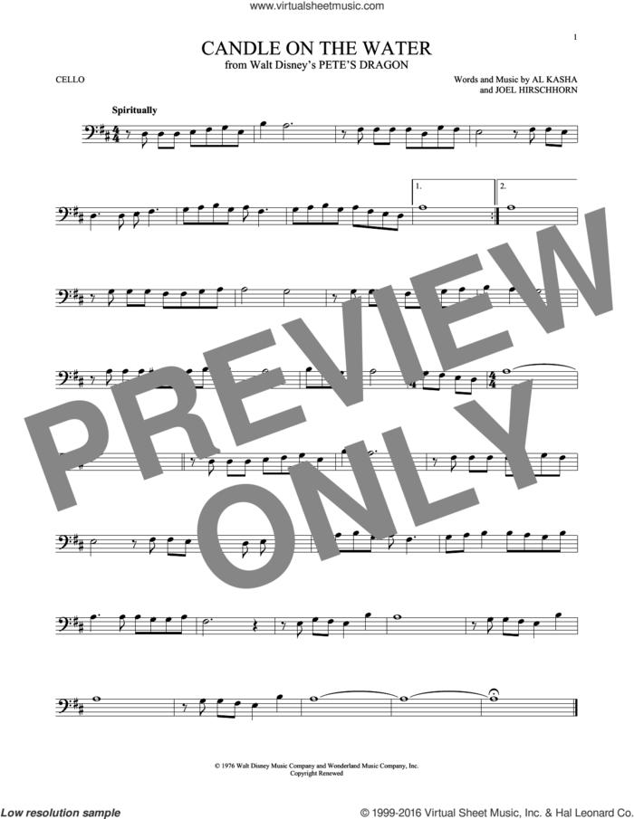 Candle On The Water sheet music for cello solo by Al Kasha, Al Kasha & Joel Hirschhorn and Joel Hirschhorn, intermediate skill level