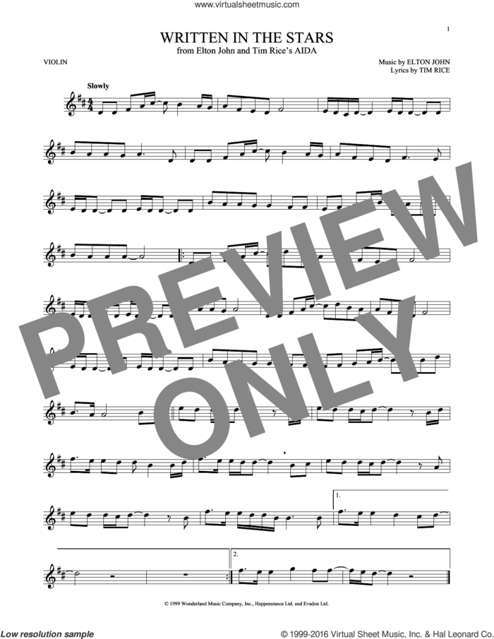 Written In The Stars sheet music for violin solo by Elton John and Tim Rice, intermediate skill level