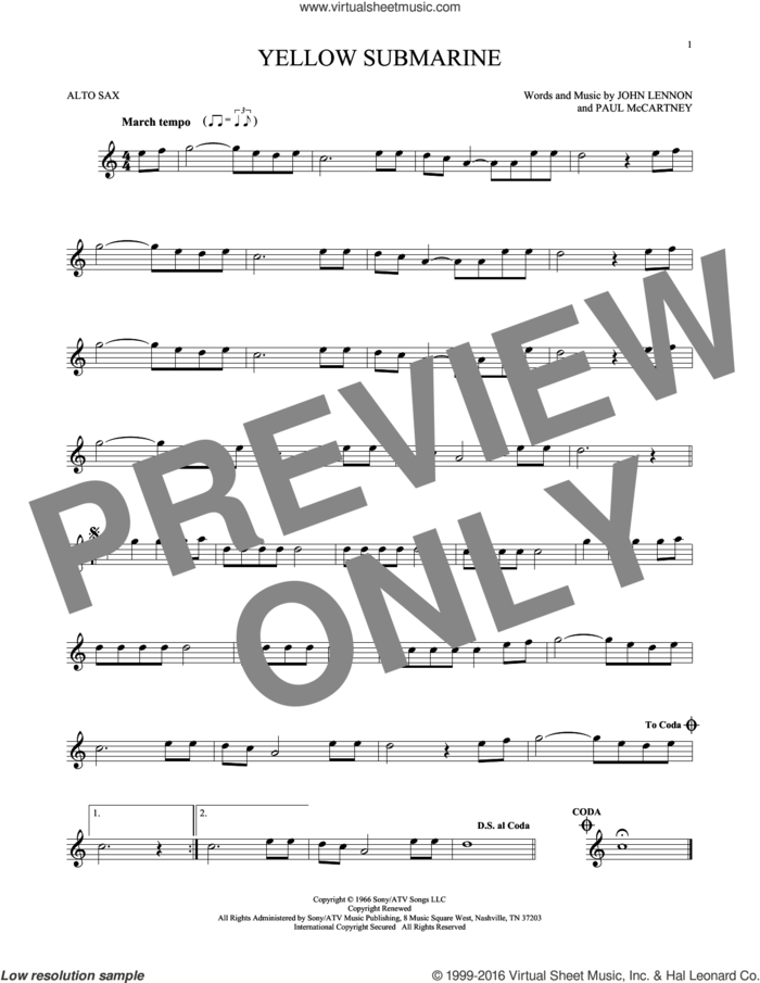 Yellow Submarine sheet music for alto saxophone solo by The Beatles, John Lennon and Paul McCartney, intermediate skill level