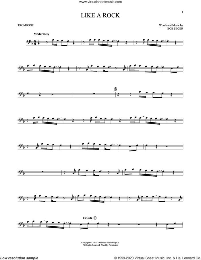 Like A Rock sheet music for trombone solo by Bob Seger, intermediate skill level