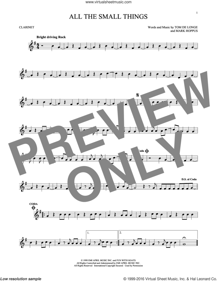 All The Small Things sheet music for clarinet solo by Blink 182, Mark Hoppus, Tom DeLonge and Travis Barker, intermediate skill level