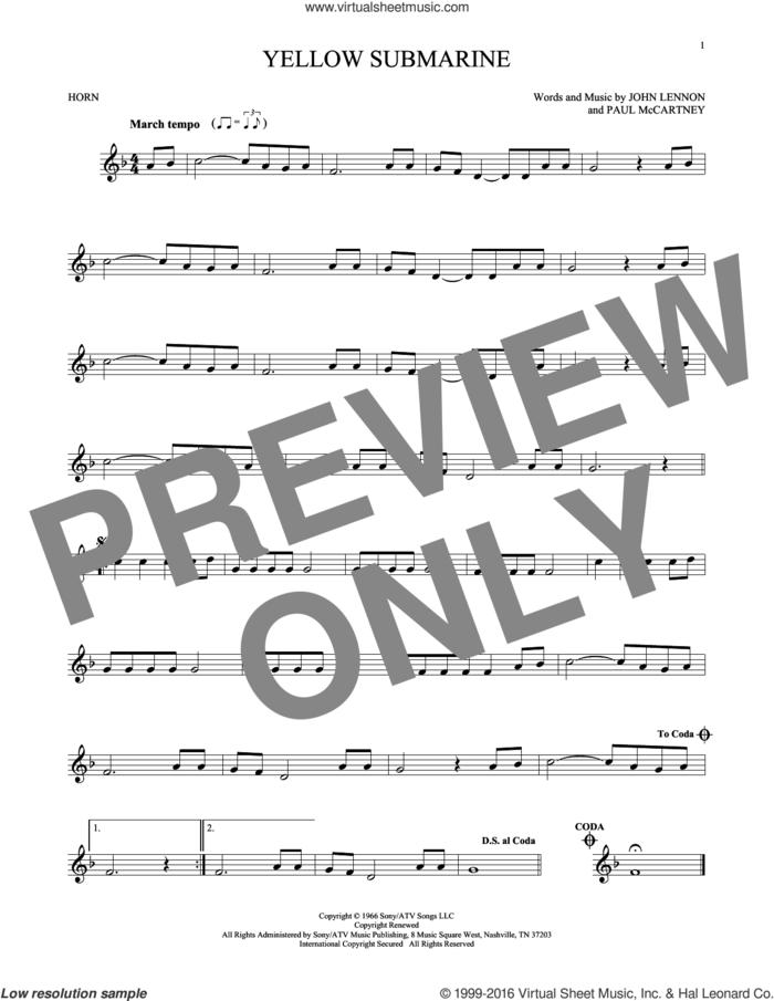 Yellow Submarine sheet music for horn solo by The Beatles, John Lennon and Paul McCartney, intermediate skill level