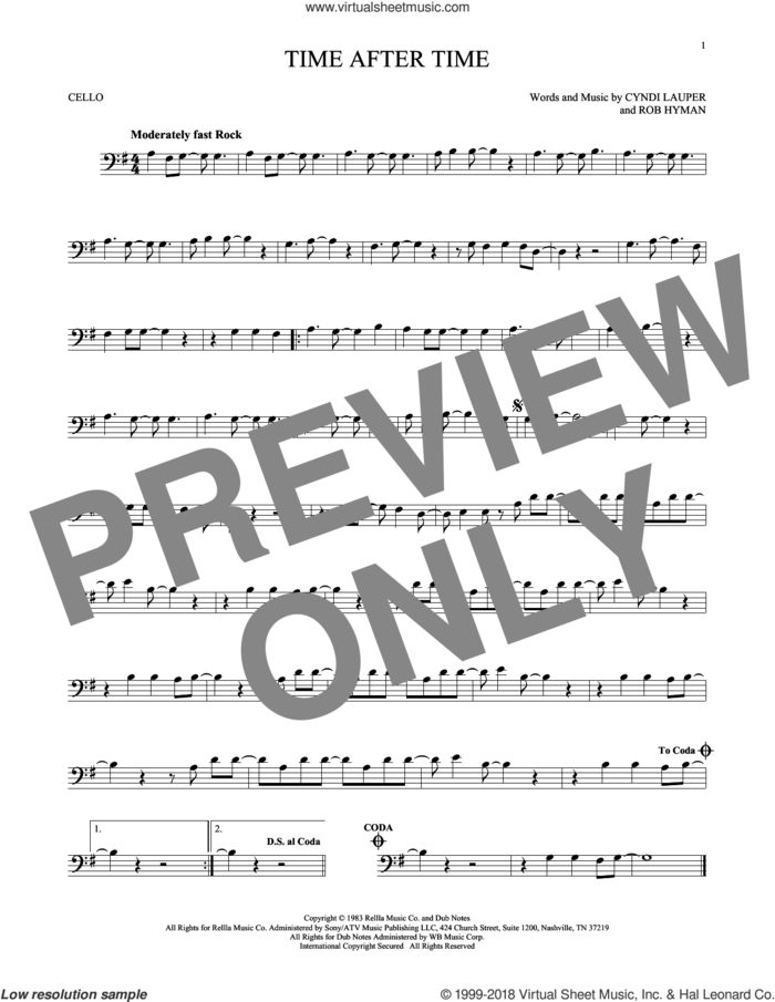Time After Time sheet music for cello solo by Cyndi Lauper, Inoj, Javier Colon and Rob Hyman, intermediate skill level