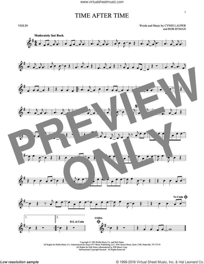 Time After Time sheet music for violin solo by Cyndi Lauper, Inoj, Javier Colon and Rob Hyman, intermediate skill level