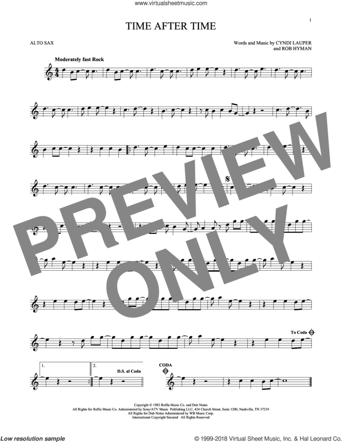 Time After Time sheet music for alto saxophone solo by Cyndi Lauper, Inoj, Javier Colon and Rob Hyman, intermediate skill level