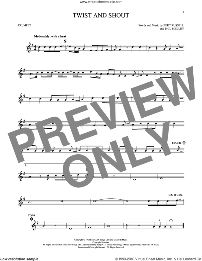 Twist And Shout sheet music for trumpet solo by The Beatles, The Isley Brothers, Bert Russell and Phil Medley, intermediate skill level