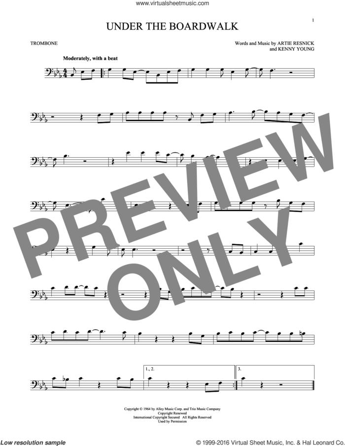 Under The Boardwalk sheet music for trombone solo by The Drifters, intermediate skill level