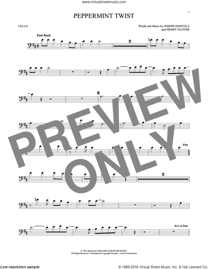 Peppermint Twist sheet music for cello solo by Joey Dee & The Starliters, Henry Glover and Joseph DiNicola, intermediate skill level