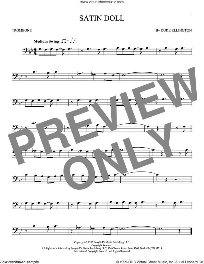 Satin Doll sheet music for trombone solo by Duke Ellington, Billy Strayhorn and Johnny Mercer, intermediate skill level