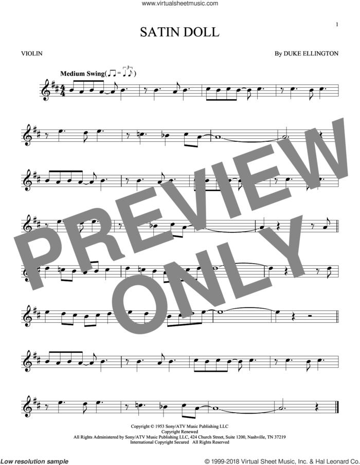 Satin Doll sheet music for violin solo by Duke Ellington, Billy Strayhorn and Johnny Mercer, intermediate skill level