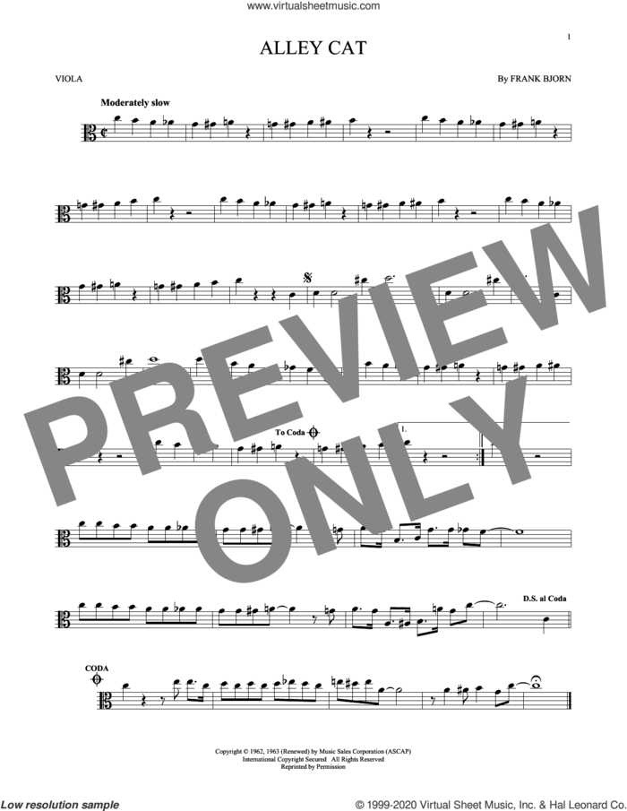 Alley Cat sheet music for viola solo by Bent Fabric and Frank Bjorn, intermediate skill level