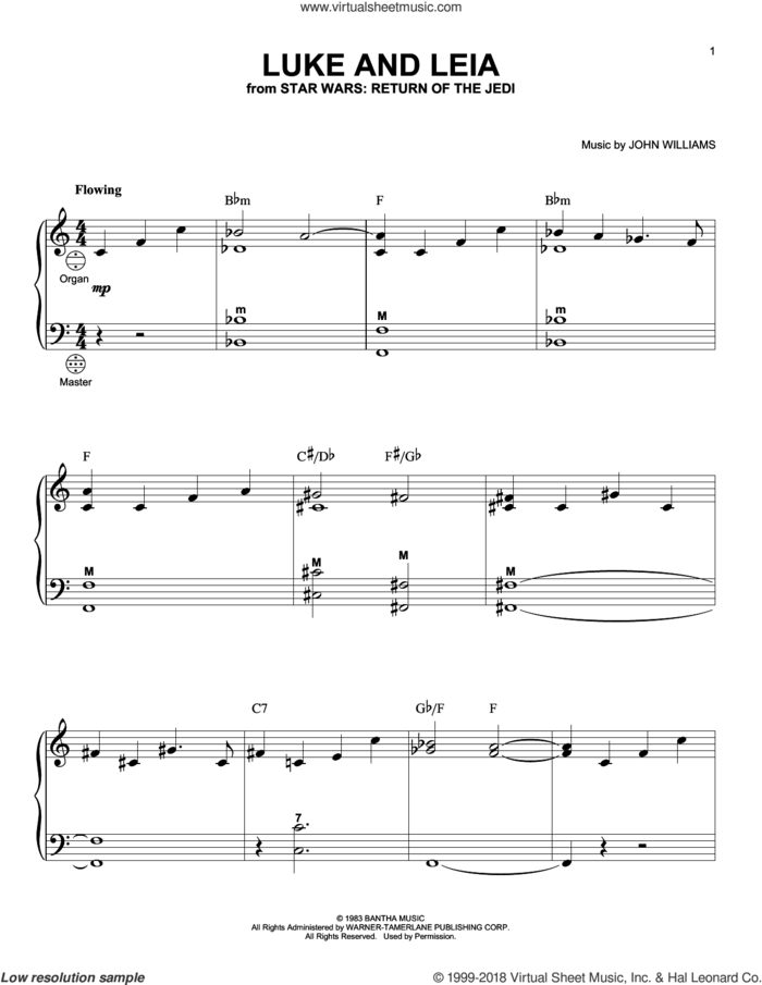 Luke And Leia (from Star Wars: Return of the Jedi) sheet music for accordion by John Williams, intermediate skill level